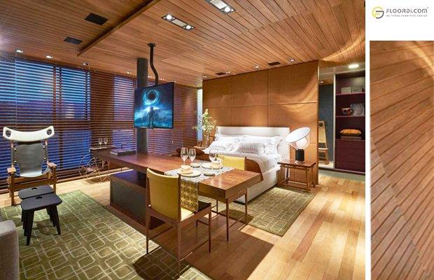Dùng sàn gỗ ốp la phông trần cho phòng ngủ