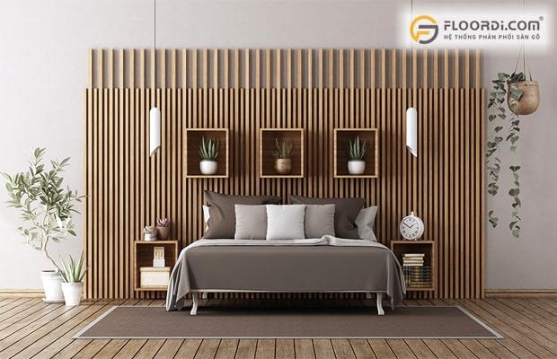 Tấm ốp lam dùng làm vách ngăn cho phòng ngủ hiện đại