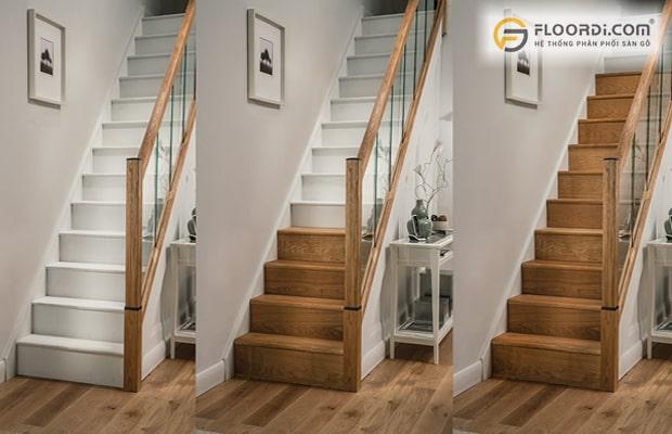 Sử dụng sàn gỗ làm mặt bậc cầu thang