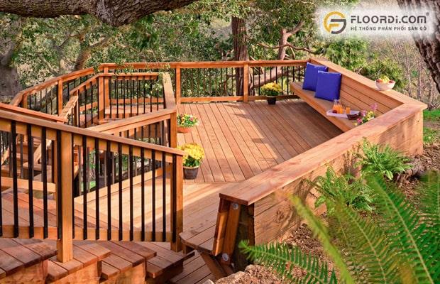 Dùng sàn gỗ ngoài trời để ốp lát lối đi và trang trí