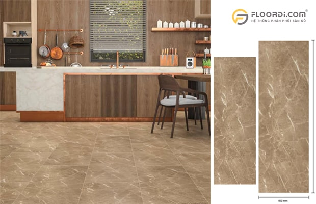 Sàn gỗ vân đá mang lại sự mới mẻ cho không gian bếp