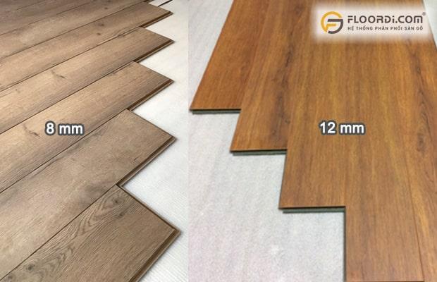 Ván sàn Laminate có hai độ dày cơ bản là 8mm và 12mm