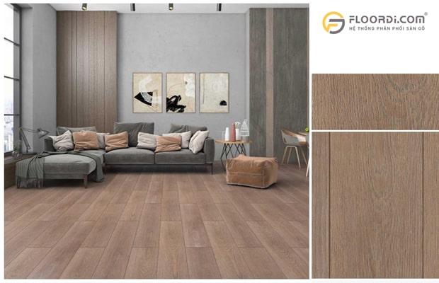 Màu tường trung tính dễ dàng trung hòa với màu sàn gỗ và nội thất