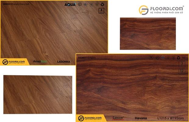 Sàn gỗ công nghiệp Lamton D2303 và sàn nhựa hèm khóa Amazfloor AM8402
