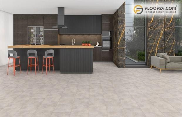 Sàn vân đá sở hữu thiết kế bề mặt chân thực cùng độ bền vượt trội
