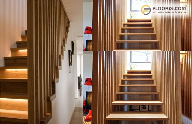 Dùng thanh lam gỗ làm vách ngăn cầu thang