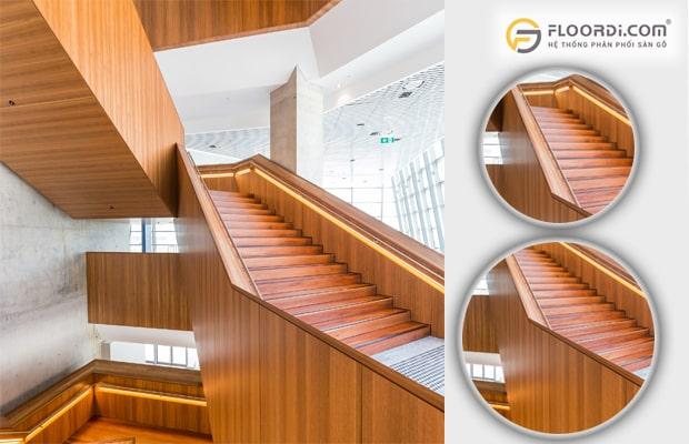 Vách ngăn bằng gỗ màu vàng mang lại vẻ đẹp sang trọng cho công trình hạng sang