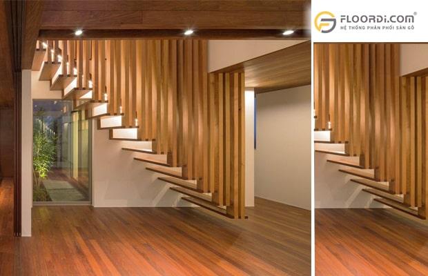 Trang trí khu vực phòng khách với vách ngăn cầu thang kiểu treo trần bằng gỗ