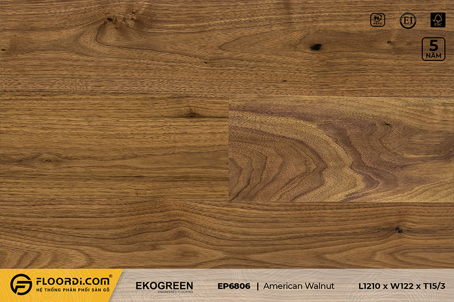 Sàn gỗ EP6806 American Walnut – Premium – 15/3mm