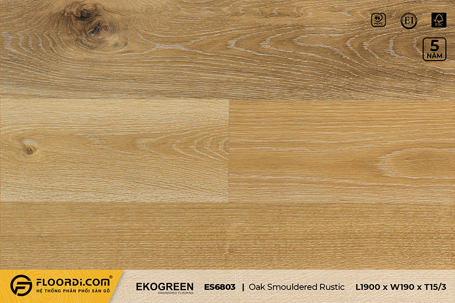 Sàn gỗ sồi ES6803 Oak Smouldered Rustic – Signature – 15/3mm