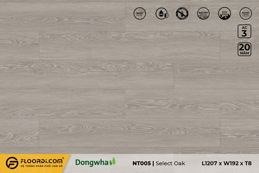 Sàn gỗ NT005 Select Oak – 8mm – AC3
