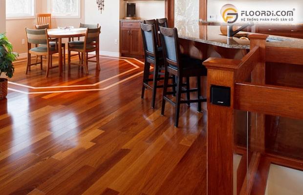 Sàn gỗ Căm Xe ghép thanh giúp hạn chế tối đa sự giãn nở ở gỗ