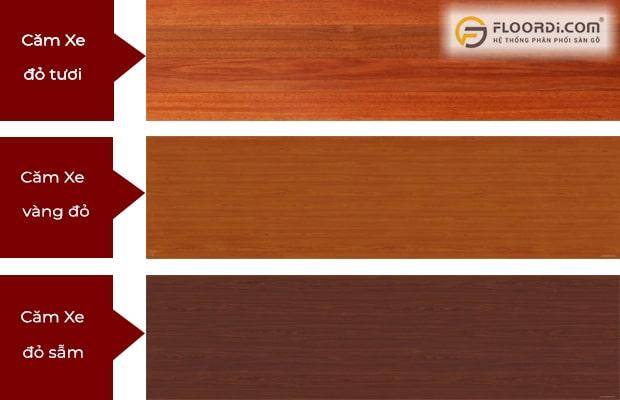 Sàn gỗ Căm Xe tự nhiên có màu đỏ, vàng đỏ hoặc đỏ sẫm