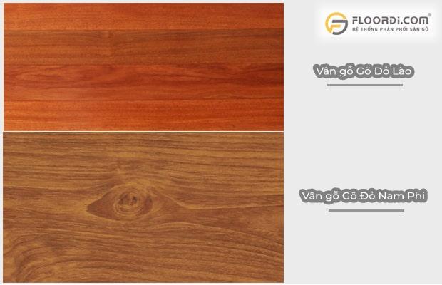 Phân biệt vân gỗ gõ đỏ Lao và Nam Phi