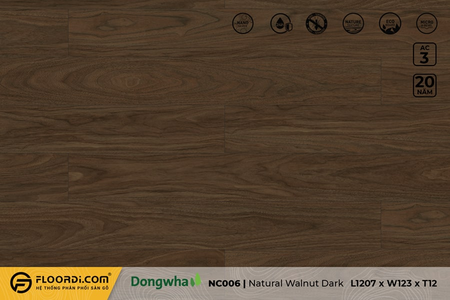 Sàn gỗ NC006 Natural Walnut Dark – 12mm – AC3