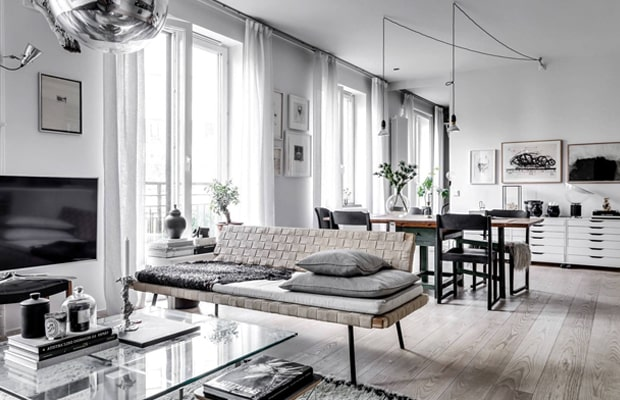 Hầu như các ngôi nhà theo lối thiết kế Scandinavian đều sử dụng sàn gỗ