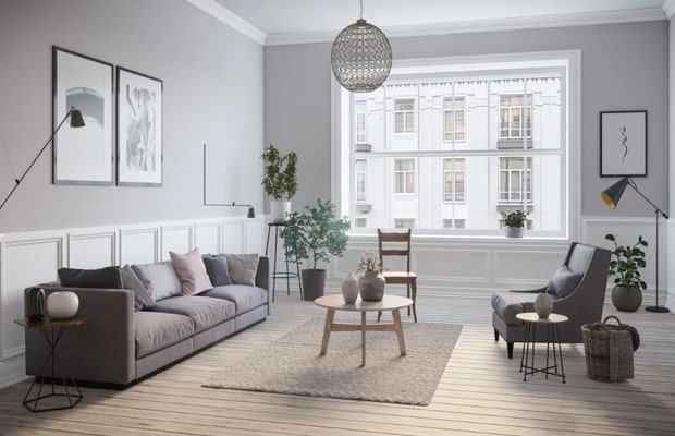 Phòng khách Scandinavian thường trang trí thảm lót ngay bàn và có lò sưởi
