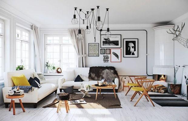 Phòng khách áp dụng kiểu thiết kế Bắc Âu đem lại sự sang trọng và tinh tế
