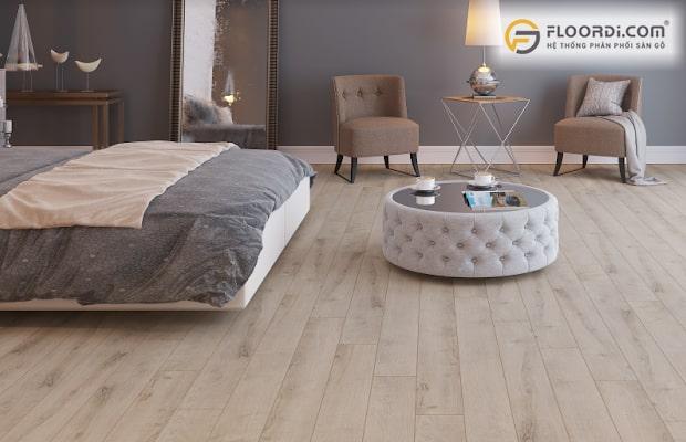 Sàn màu xám ghi cũng là tông màu phù hợp cho phòng ngủ người mạng Mộc