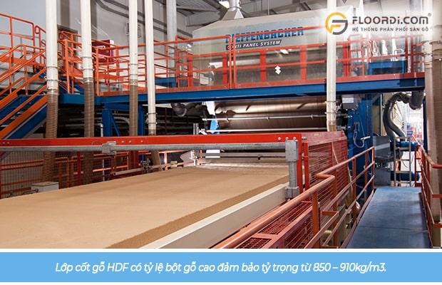 Lớp cốt gỗ HDF có tỷ lệ bột gỗ cao đảm bảo tỷ trọng từ 850kg/m3 – 910kg/m3