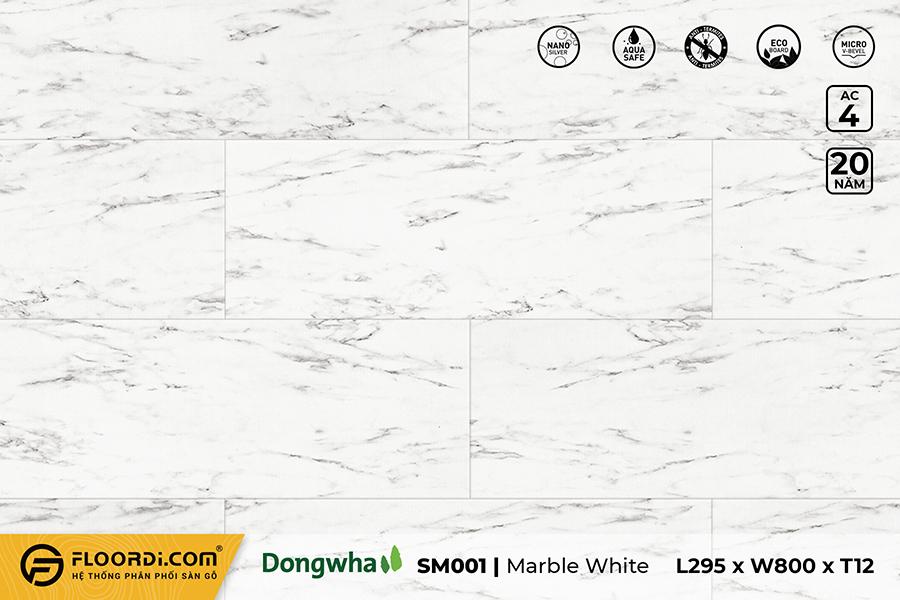 Sàn gỗ SM001 – Marble White – 12mm