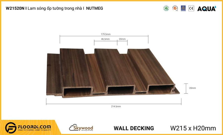 Lam sóng ốp tường – ốp trần WD21520N – Nutmeg – 20mm