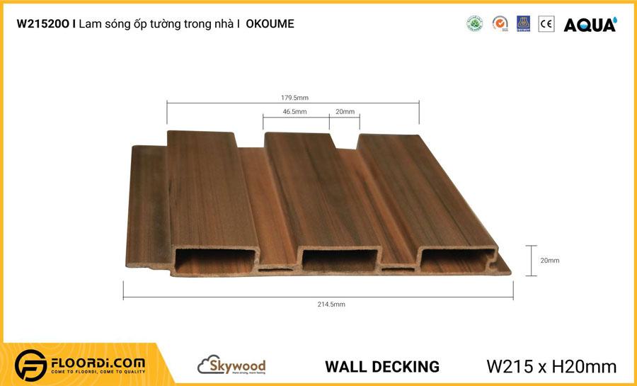 Lam sóng ốp tường – ốp trần WD21520O – Okoume – 20mm