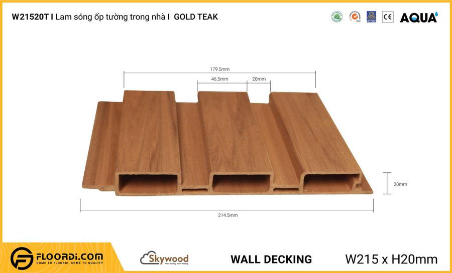 Lam sóng ốp tường – ốp trần WD21520T – Golden Teak – 20mm