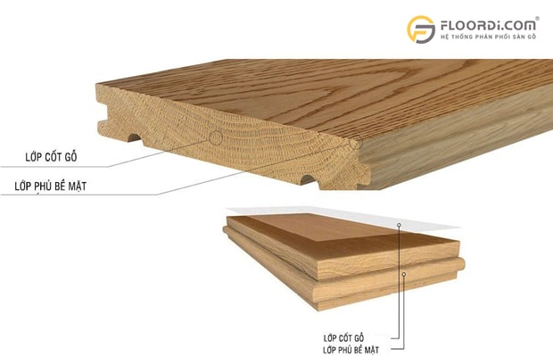 Soild là dòng sàn được lấy từ 100% gỗ thịt nguyên tấm, không qua cắt ghép