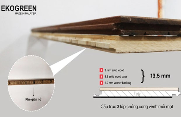 Solid gỗ thịt có độ giãn nở cao hơn sàn gỗ kỹ thuật Engineered còn độ bền thì tương đương