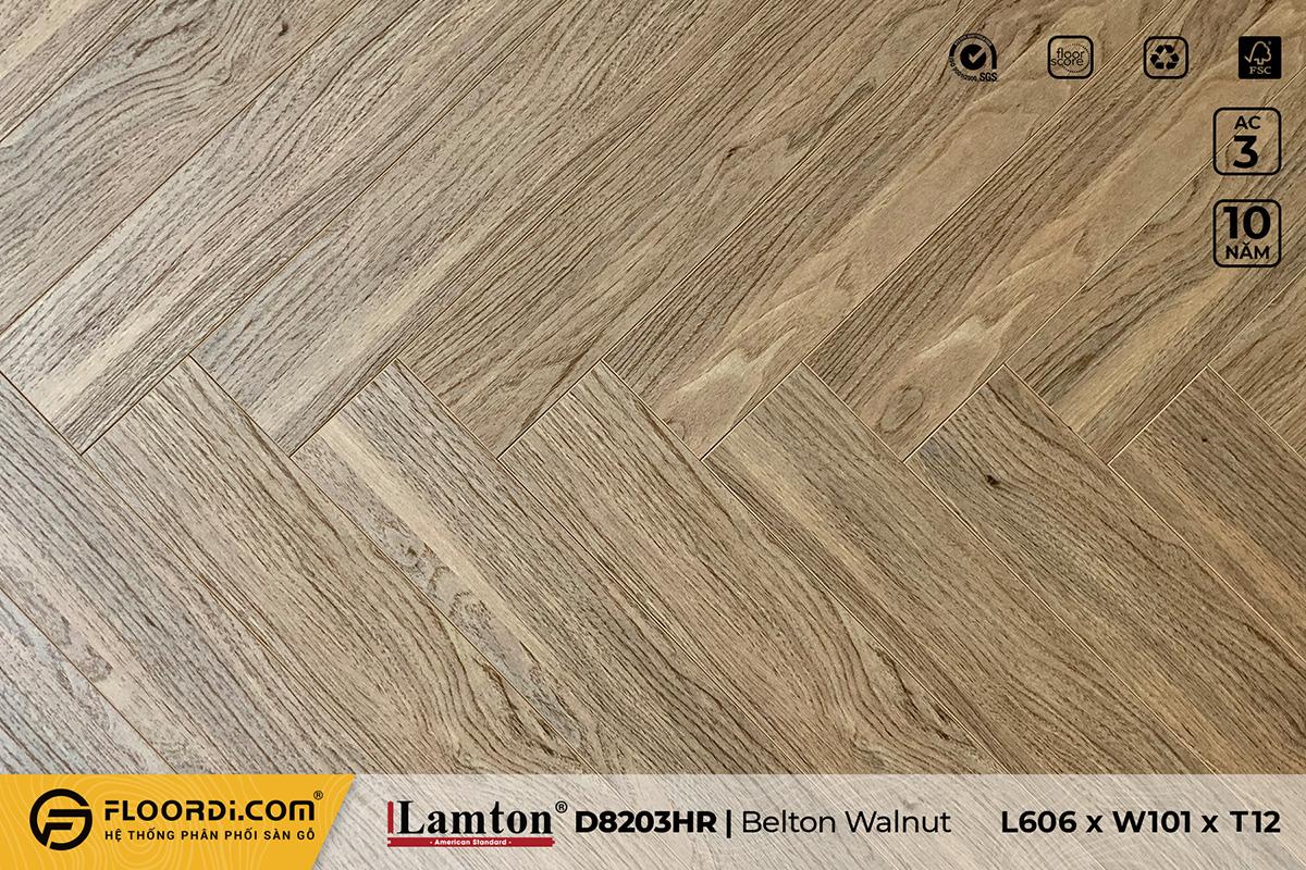 Sàn gỗ xương cá Lamton D8203HR Belton Walnut – 12mm – AC3